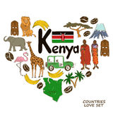 Kenyan symbols in heart shape concept. Colorful sketch collection of Kenyan symbols. Heart shape concept. Travel background Royalty Free Stock Photos