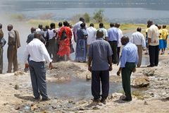 Kenyan tourist at the Lake Baringo, Kenya Royalty Free Stock Photo