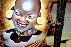 Kenyan woman painting Royalty Free Stock Photography