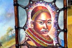 Kenyan woman painting Royalty Free Stock Image