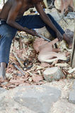 Kenyansk hantverkare som snider två lejon Royaltyfria Bilder