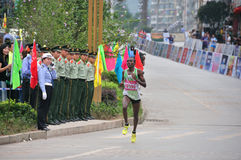 Kenyas national athletes in the marathon. Half international marathon in fushui county in yunnan province in China, time: on September 25, 2013 Stock Photography