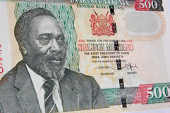 Kenyatta banknote, Kenya. Detail of the first President of Kenya - the late Jomo Kenyatta - on the front of a 500 shilling banknote from Kenya