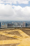 Kenyatta International Conference Centre helipad witn view on central business district of Nairobi Royalty Free Stock Photos