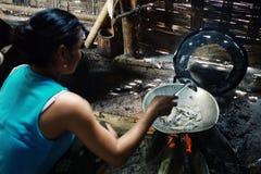 Keo l'épouse d'un pêcheur faisant cuire quelques poissons de petite friture pour le déjeuner image libre de droits