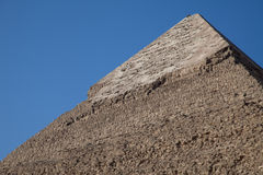 Keops pyramid top limestone cover. The top of the pyramid of pharaoh Keops with the intact limestone cover Royalty Free Stock Photography
