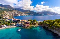 Kephalonia-Dorf Assos in Griechenland lizenzfreie stockfotos