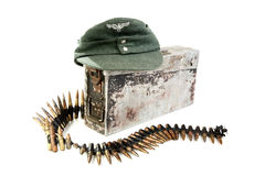 Kepi of the German soldier and machine-gun tape Stock Photos