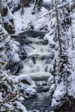 Keplar Cascades flow through snowy scenery in Yellowstone royalty free stock image