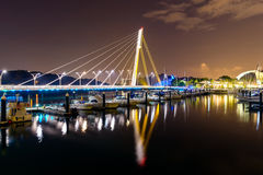 Keppel Bay bridge at night, Singapore. Keppel Bay bridge at night in Singapore Royalty Free Stock Images