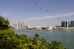 KEPPEL-BUCHT, SINGAPUR, am 10. Dezember 2017: Jachthafen an Keppel-Bucht in Singapur Lizenzfreies Stockbild