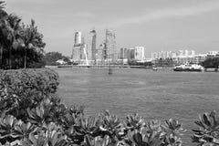 KEPPEL FJÄRD, SINGAPORE, December 10 2017: Marina på den Keppel fjärden i Singapore Royaltyfri Bild