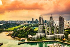 Keppel Marina Bay a Singapore - equazione di luce immagini stock libere da diritti