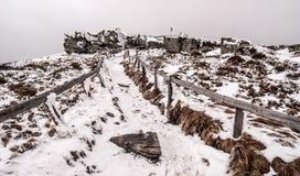 Keprnik hill in winter Jeseniky mountains in Czech republic. Keprnik hill with rock formation, snow and hiking trail in winter Jeseniky mountains in Czech Stock Photo