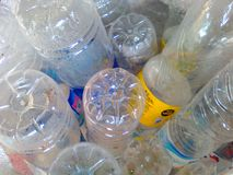 Old bottles. Used plastic  step into the recycling process Royalty Free Stock Images