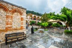 Unidentified people visit ancient Monastery Kera Kardiotissa on Crete. Greece Stock Images