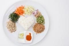 Kerabu ou kao de Nasi yum, riz de style thaïlandais de Southen image libre de droits