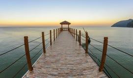 Kerachut plaży jetty przy zmierzchem składu projekta elementu natury raj Zdjęcia Stock