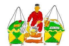 Kerak Telur или создатель и продавец Telor еда Индонезии традиционная, блюдо омлета сделанное от кокоса, липкий рис, цыпленок или бесплатная иллюстрация