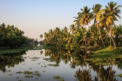 Kerala avkrokar på solnedgången, från Kollam till Alleppey, Kerala, Indien royaltyfri foto