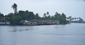 Kerala Backwater and Houseboats during Rain in Monsoon Stock Image