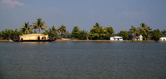 Kerala backwaters. Boats in the canals of Kerala Stock Photography