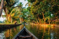 Kerala backwaters  canoeing Stock Photos