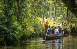 In the Kerala backwaters channel stock image