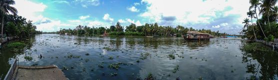 Kerala Backwaters Panorama. Panarama of a big river in the backwaters of Kerala Stock Photos
