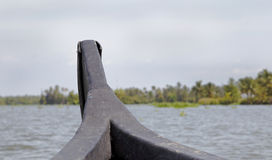 Kerala backwaters sailing land ahoy India Royalty Free Stock Photography