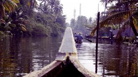 Kerala Backwaters, South India, canoe and ferry stock video footage