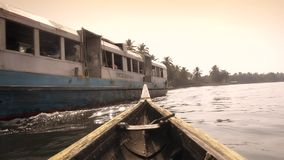 Kerala Backwaters, South India, canoe and ferry stock video