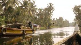 Kerala Backwaters, South india. Canoe and motor boat. stock footage