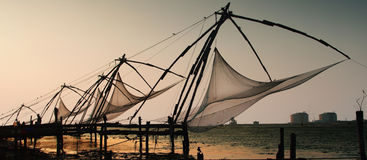 Kerala. Chinese nets in Kochi, Kerala, India Stock Images