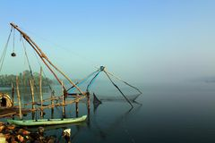 Kerala cochin backwaters with chinese fishing net Stock Photo