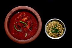 Kerala-Fische Curry und Pilz Thoran Lizenzfreies Stockbild