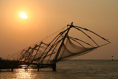 Kerala fishing nets Royalty Free Stock Photos