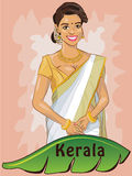 Kerala. Hand-drawn Cartoon style character of a Kerala lady, wearing a traditional Indian Saree & gold ornaments. Banan Leaf, a sign of the local cusine Royalty Free Stock Photo