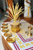 Kerala hindu wedding function arrangement. A kerala malayalee wedding function stage decoration with nirapara brass vessel filled with paddy and inserted with Stock Photos