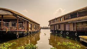 Kerala houseboat in backwaters, Alleppey royalty free stock photography