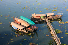 Kerala Houseboats. Moored near cochin backwaters India Stock Photo