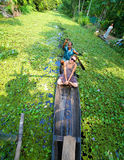 KERALA, INDIA - APRIL 2013: Canoe at alleppey backwaters Stock Photo