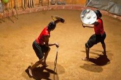 Kalaripayattu Martial Art in Kerala, South India. KERALA, INDIA - JANUARY 19, 2016: Indian fighters performing Kalaripayattu marital arts demonstration Stock Image