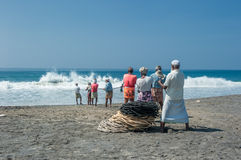 KERALA, INDIA - January, 17: Traditional fishing in Southern Ind Royalty Free Stock Photography