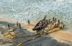 KERALA, INDIA - January, 19: Traditional fishing in Southern Ind Royalty Free Stock Images