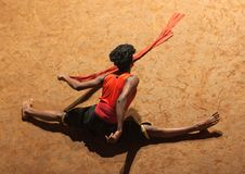 Kalaripayattu Martial Art in Kerala, India. KERALA, INDIA - NOVEMBER 10, 2016: Young Indian fighter performing Kalaripayattu marital art. Kalaripayattu is an Stock Photography