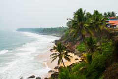Kerala, India. Varkala beach with various cafes and restaurants. At the cliff with Laccadive Sea and Varkala beach in Kerala, India stock photography