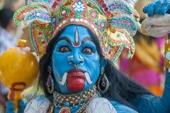 KERALA INDIEN - Januari, 17: Pooram tempelfestival på Januari, Arkivfoto