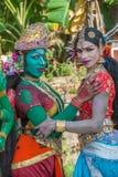 KERALA INDIEN - Januari, 17: Pooram tempelfestival på Januari, Arkivfoton