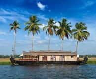 Kerala paradise on houseboat. Houseboat on Kerala backwaters. Kerala, India Stock Image
